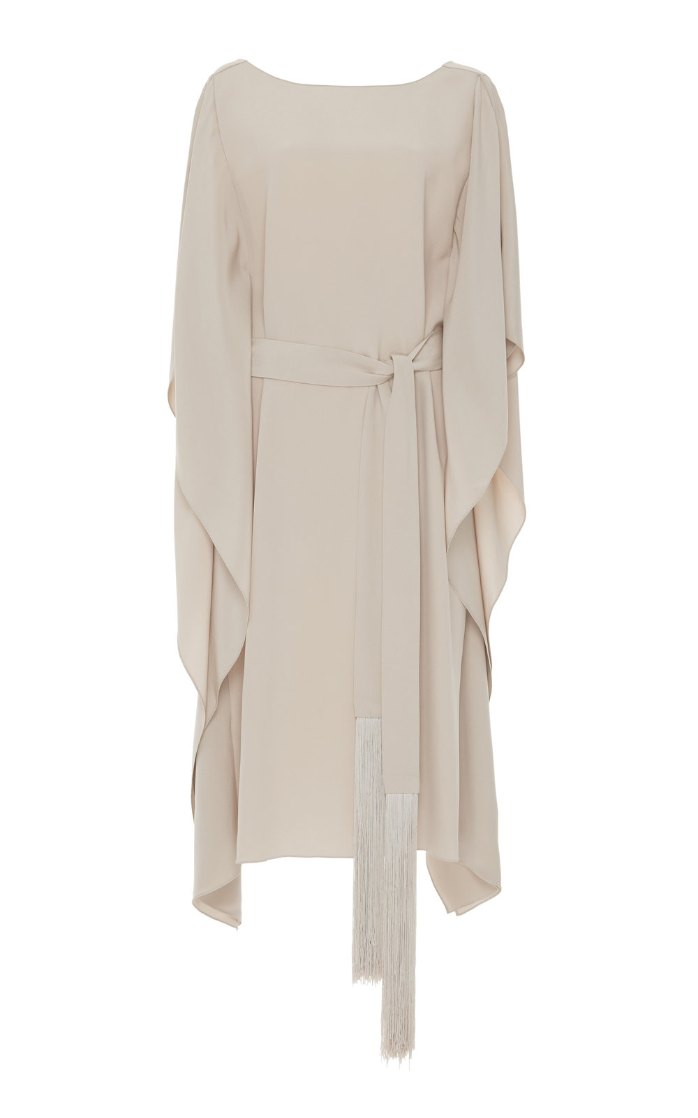Lotus Cady Silk Midi Dress - CHAMPAGNE  A perfect day to night Cady dress with a loose fit and boat neckline. The sophisticated flared cut and cascading sleeves create an effortlessly elegant look.