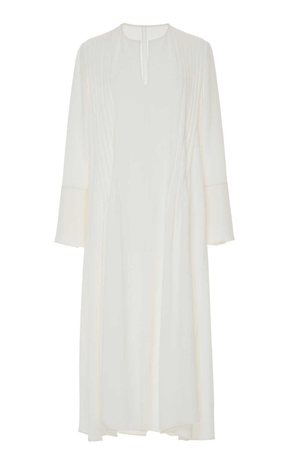 Cala Long Sleeve Dress - IVORY  A simple yet chic day dress with long sleeves and rounded neckline. Front pleats add volume and flare, creating a slight A-lined shape.