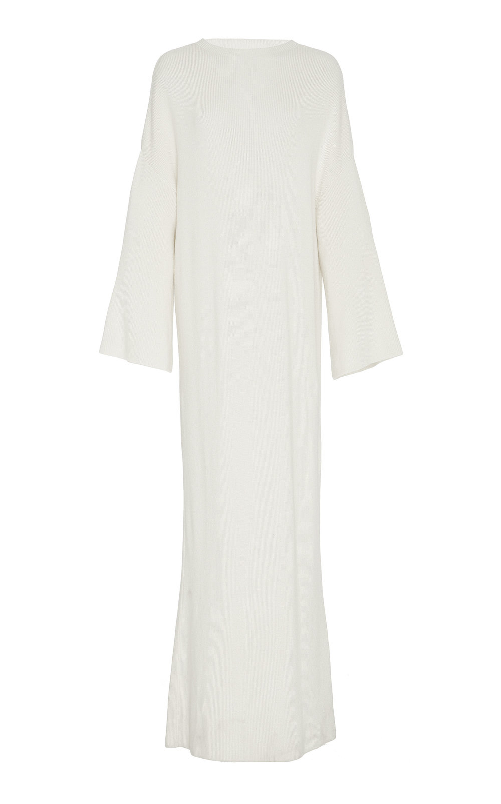 Solidaster Knitted Long Dress - IVORY  This long knitted dress is an autumn signature, spun from a blend of soft cashmere and silk.  Long flared sleeves and A-lined shape create a flattering silhouette. Wear yours with a tone-on-tone belt to accentuate the feminine shape.
