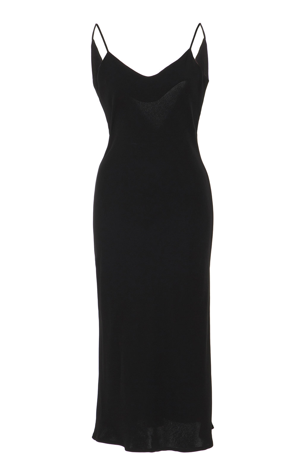Camassia Silk Draped Dress - BLACK  Made from lustrous silk, this dress is strung from thin shoulder straps and drapes to a midi length. With a slight flare and draped back, this dress offers a refined look that is easy to dress and alter.
