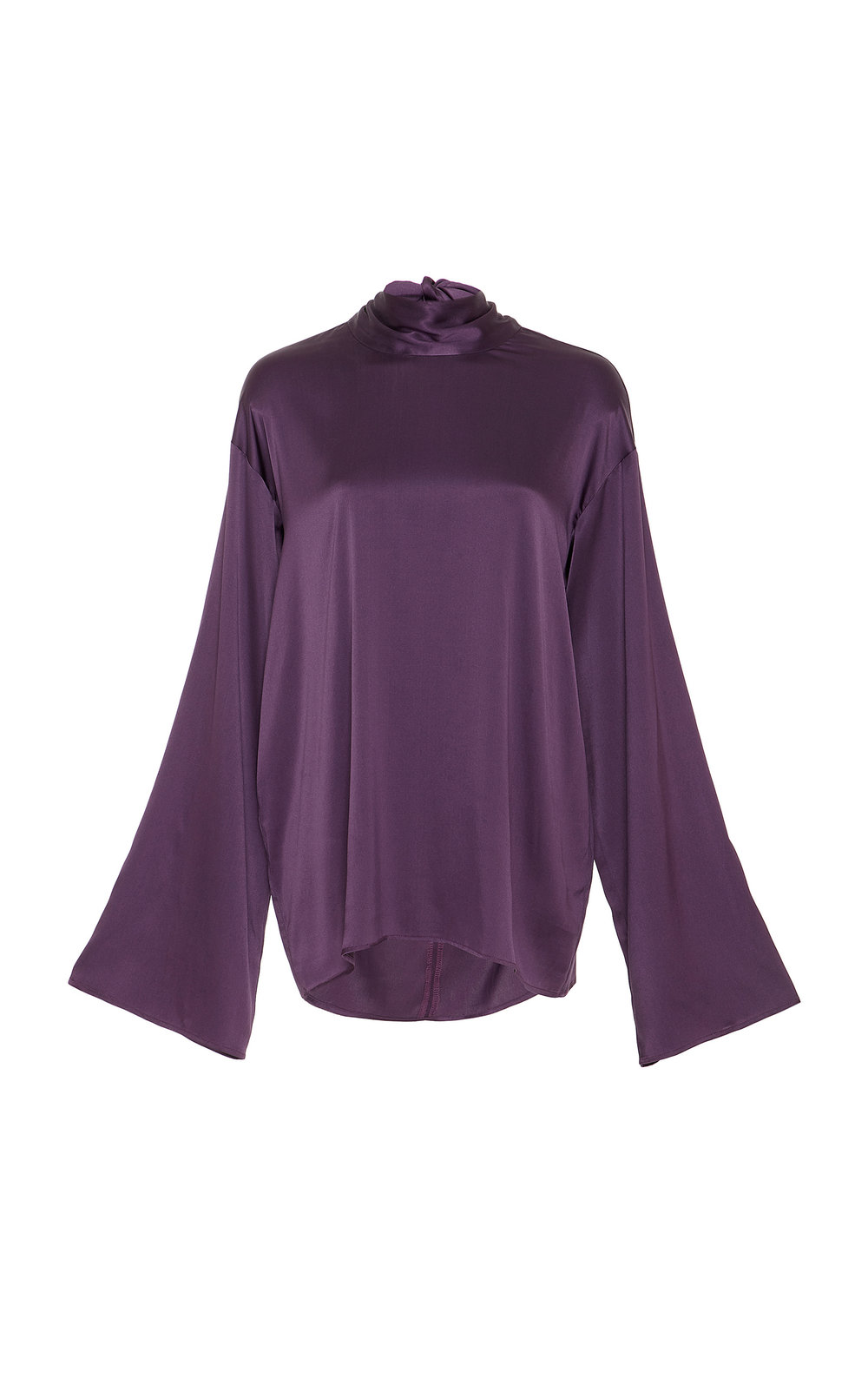 Heliconia Silk Satin Bow Tie Top - PURPLE  A perfect Silk Satin top with a loose fit, flared sleeves and scarf-like neck tie.  The minimalistic shape is easy to dress and suits every occasion.