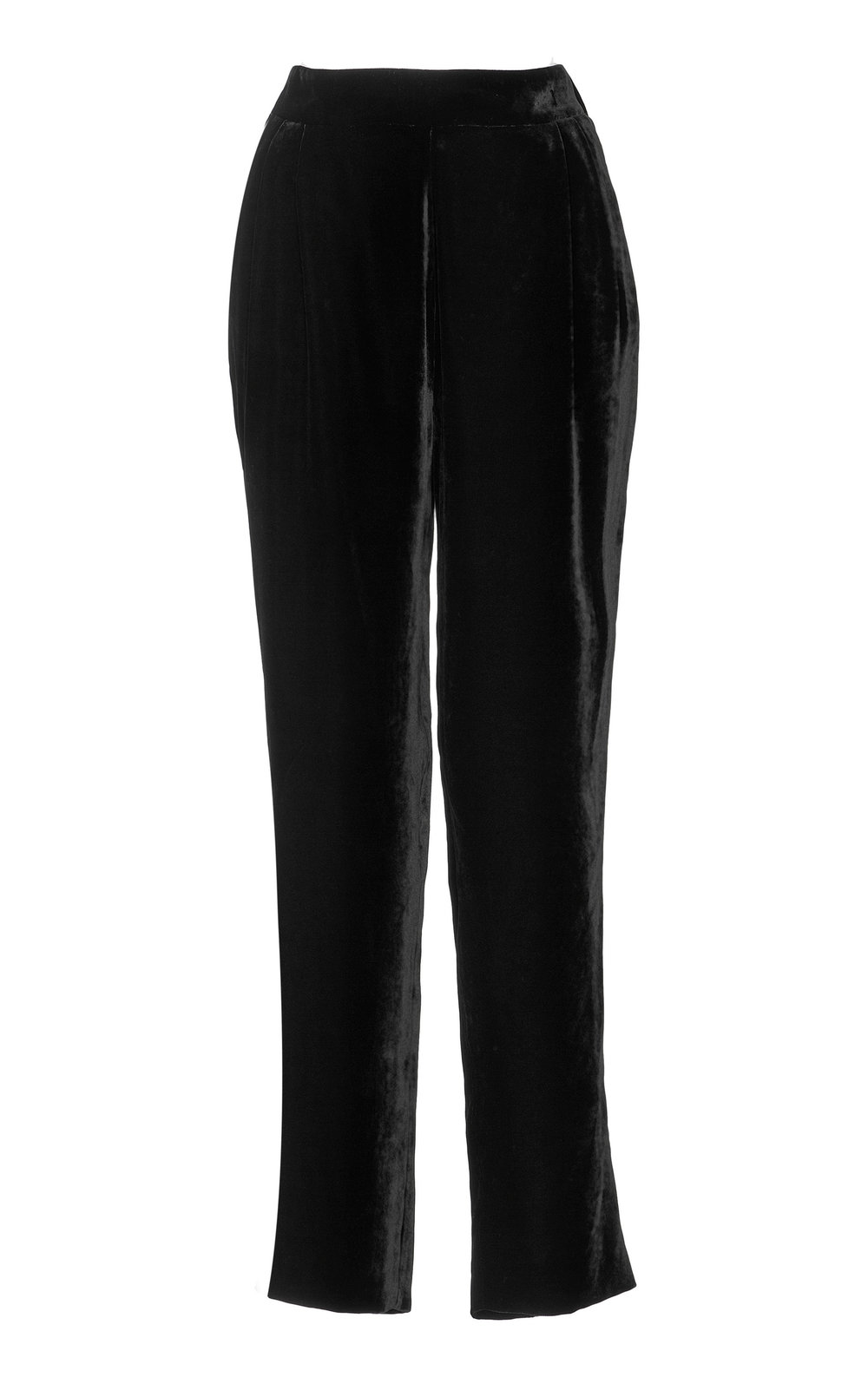Peony Silk Velvet Pants - BLACK  These leisure pants are a contemporary classic with their Velvet effect and easy fit. A modern balance between sporty and dressed, these pants are a wardrobe staple.