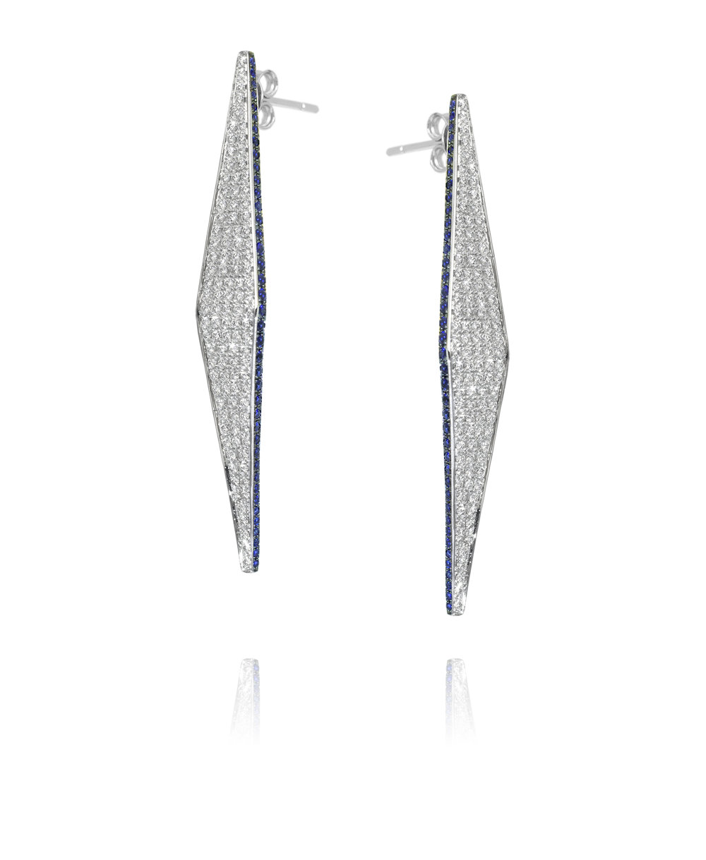 Earrings  18KT White Gold, Diamonds, Sapphires  REF. MOI145