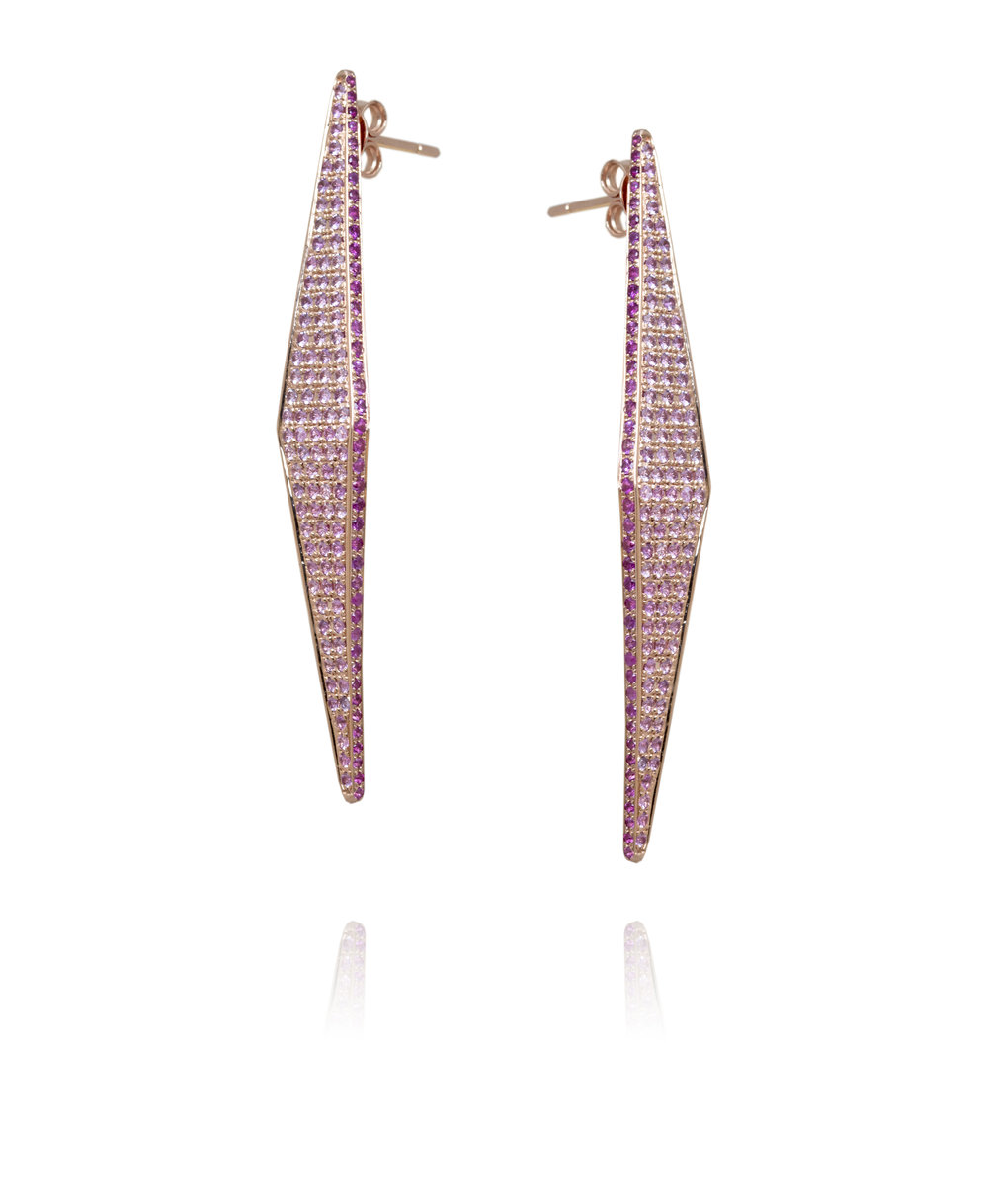 Earrings  18KT Rose Gold, Pink Sapphires  REF. MOI266
