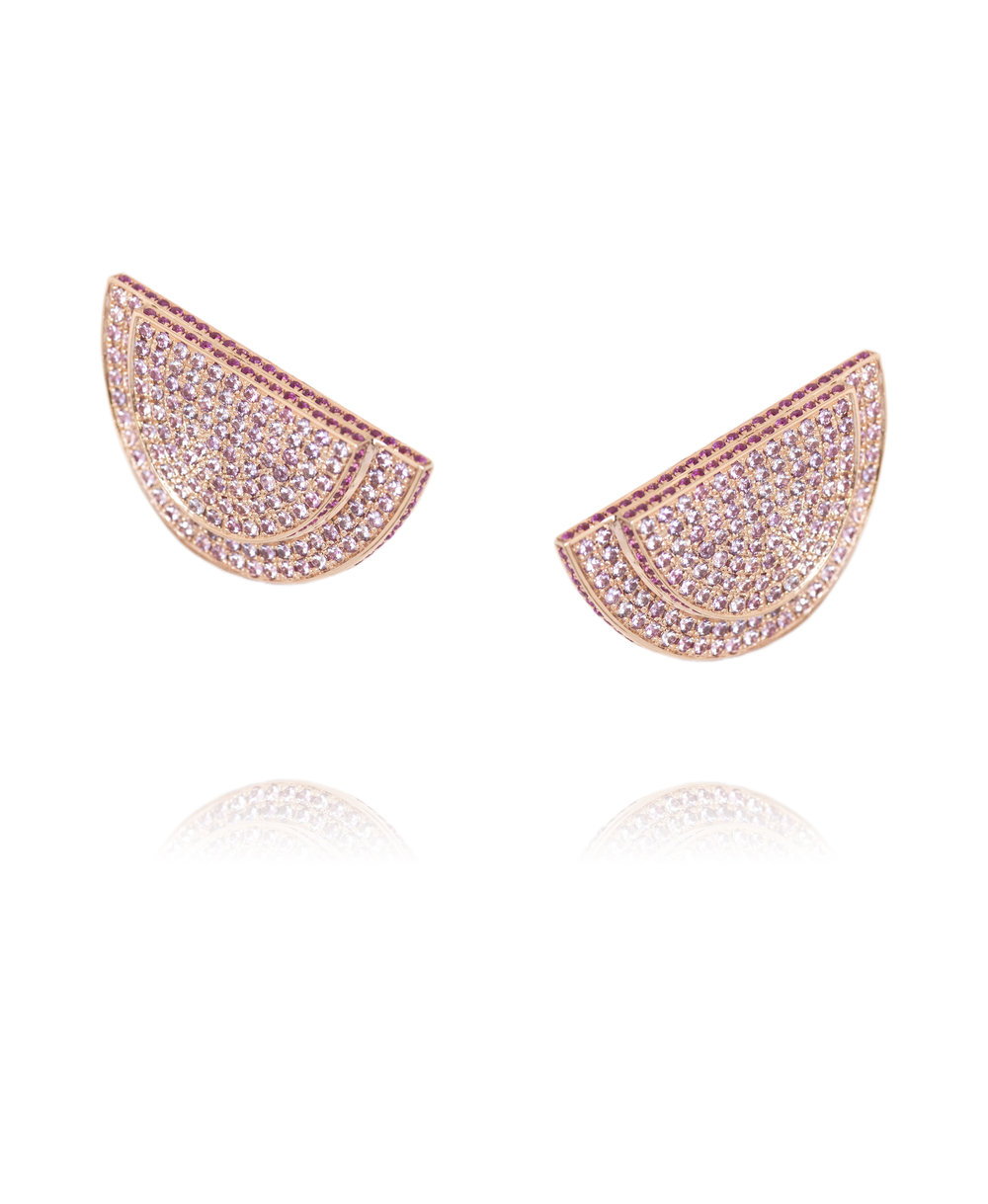 Earrings  18KT Rose Gold, Pink Sapphires  REF. MOD266