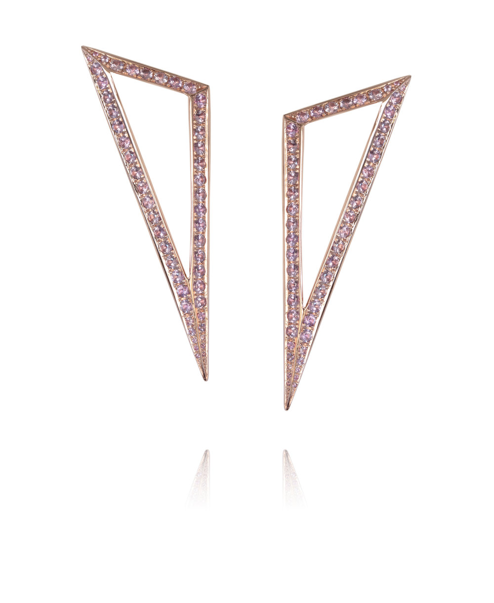 Earrings  18KT Rose Gold, Pink Sapphires  REF. MOT266