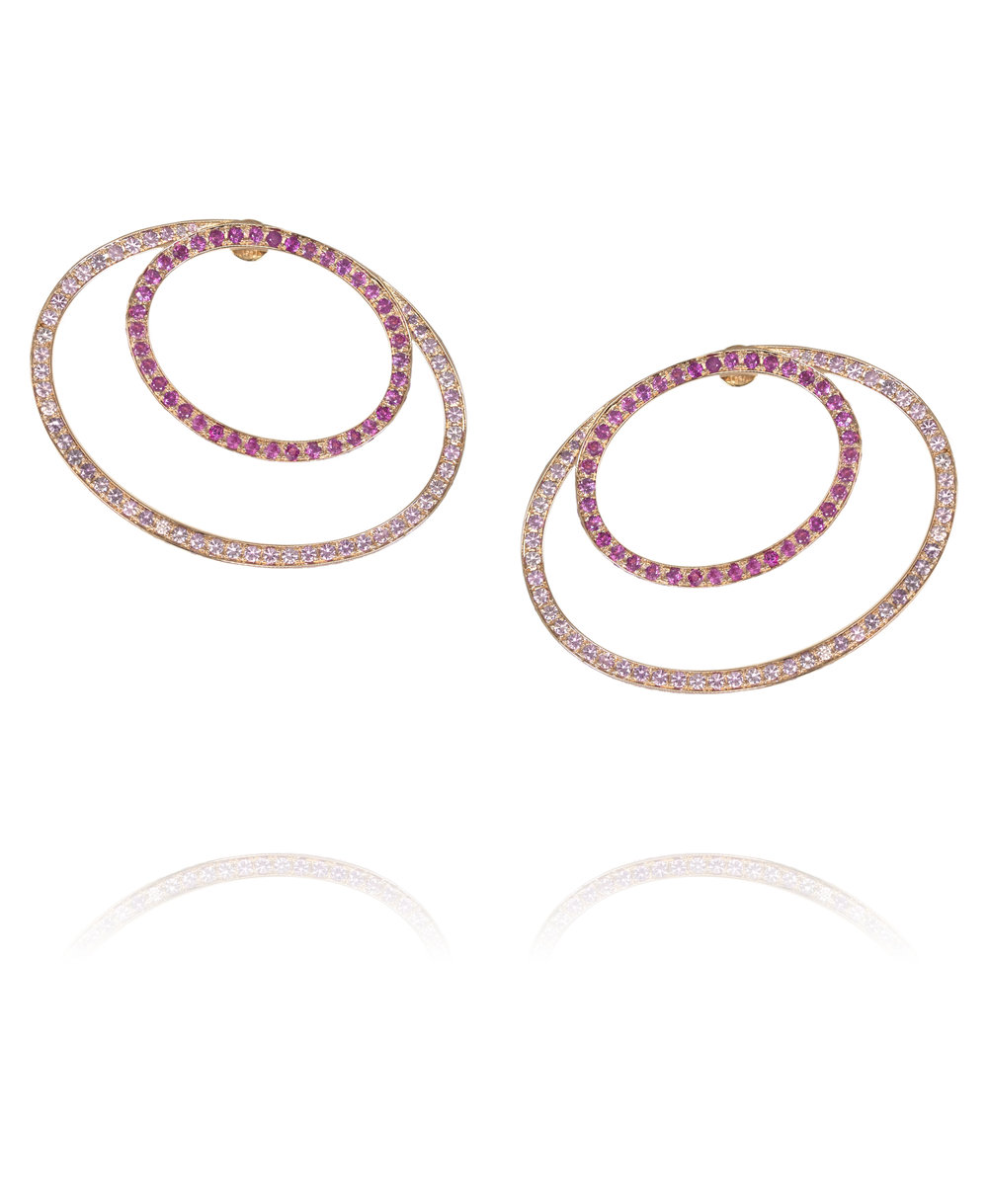 Earrings  18KT Rose Gold, Pink Sapphires  REF. MOO266