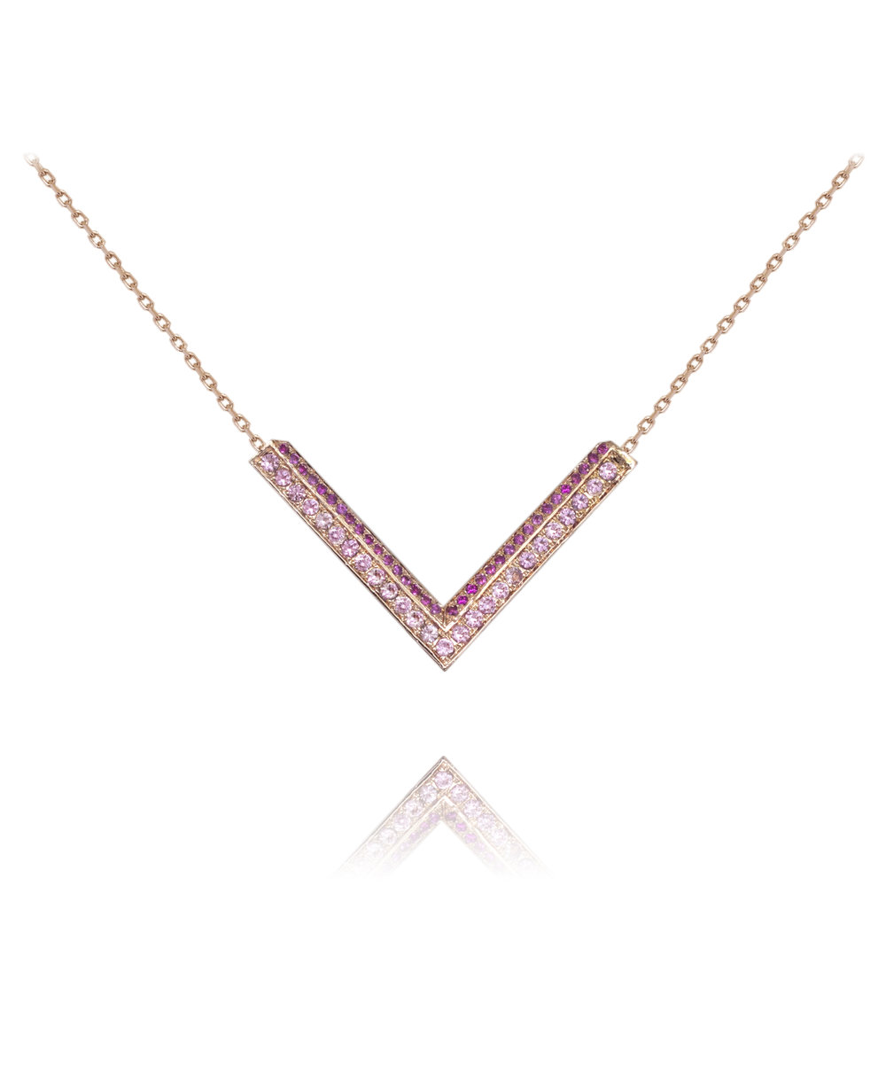 Necklace  18KT Rose Gold, Pink Sapphires  REF. MOV266