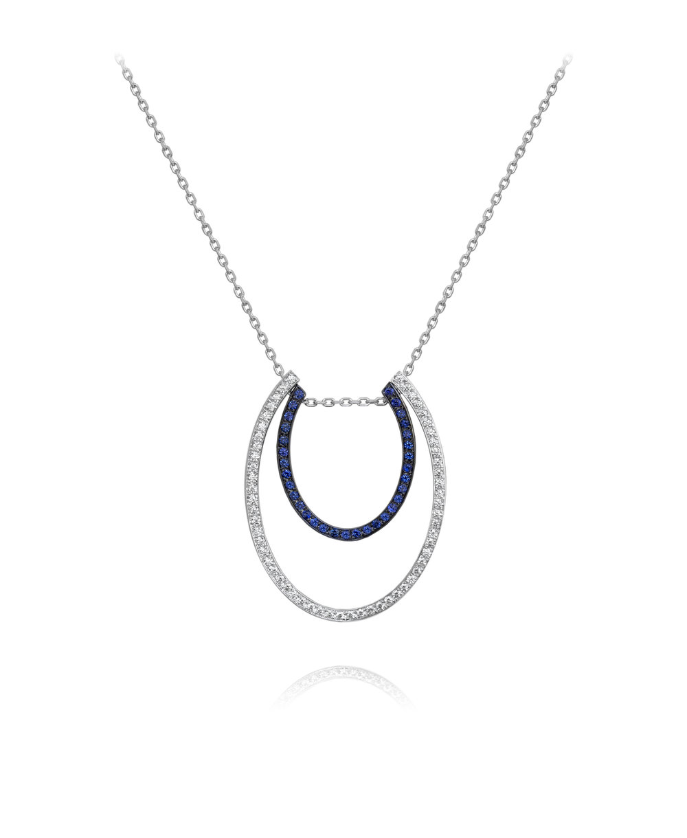 Necklace  18KT White Gold, Diamonds, Sapphires  REF. MOU145