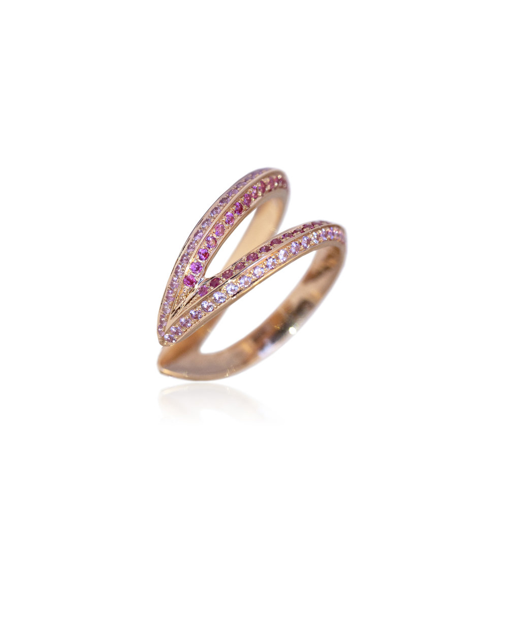 Ring  18KT Rose Gold, Pink Sapphires  REF. MOW266