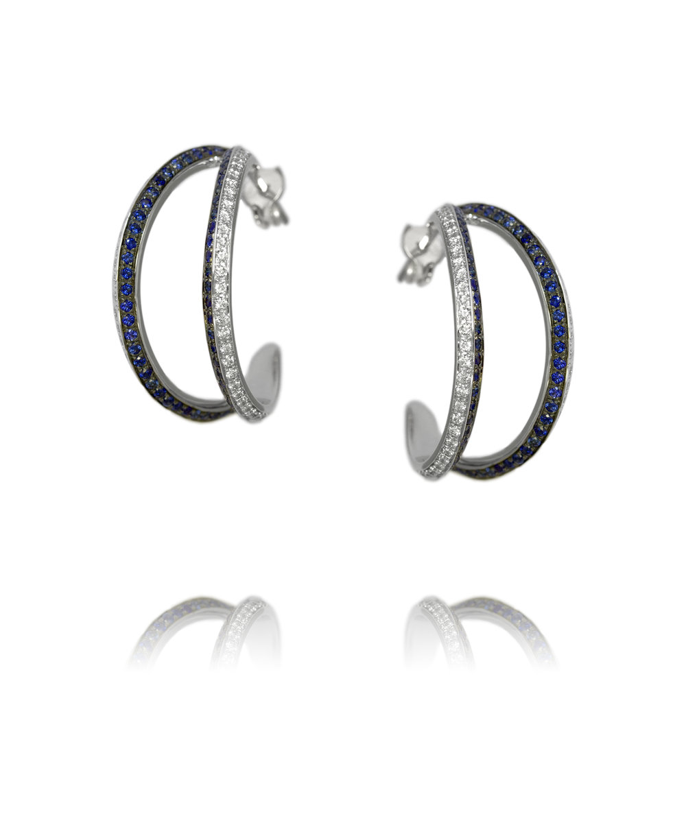 Earrings  18KT White Gold, Diamonds, Sapphires  REF. MOQ145