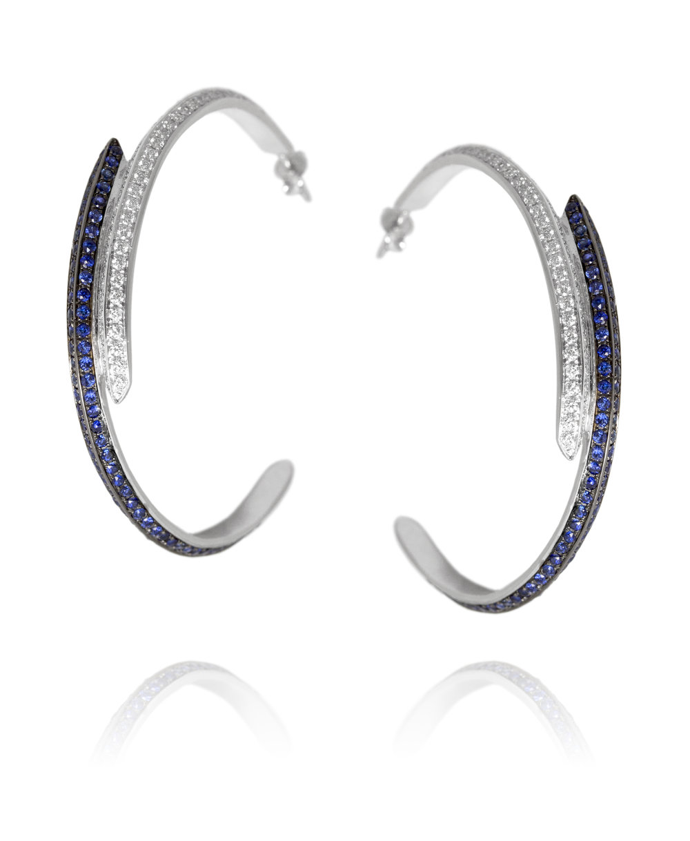 Earrings  18KT White Gold, Diamonds, Sapphires  REF. MOH145