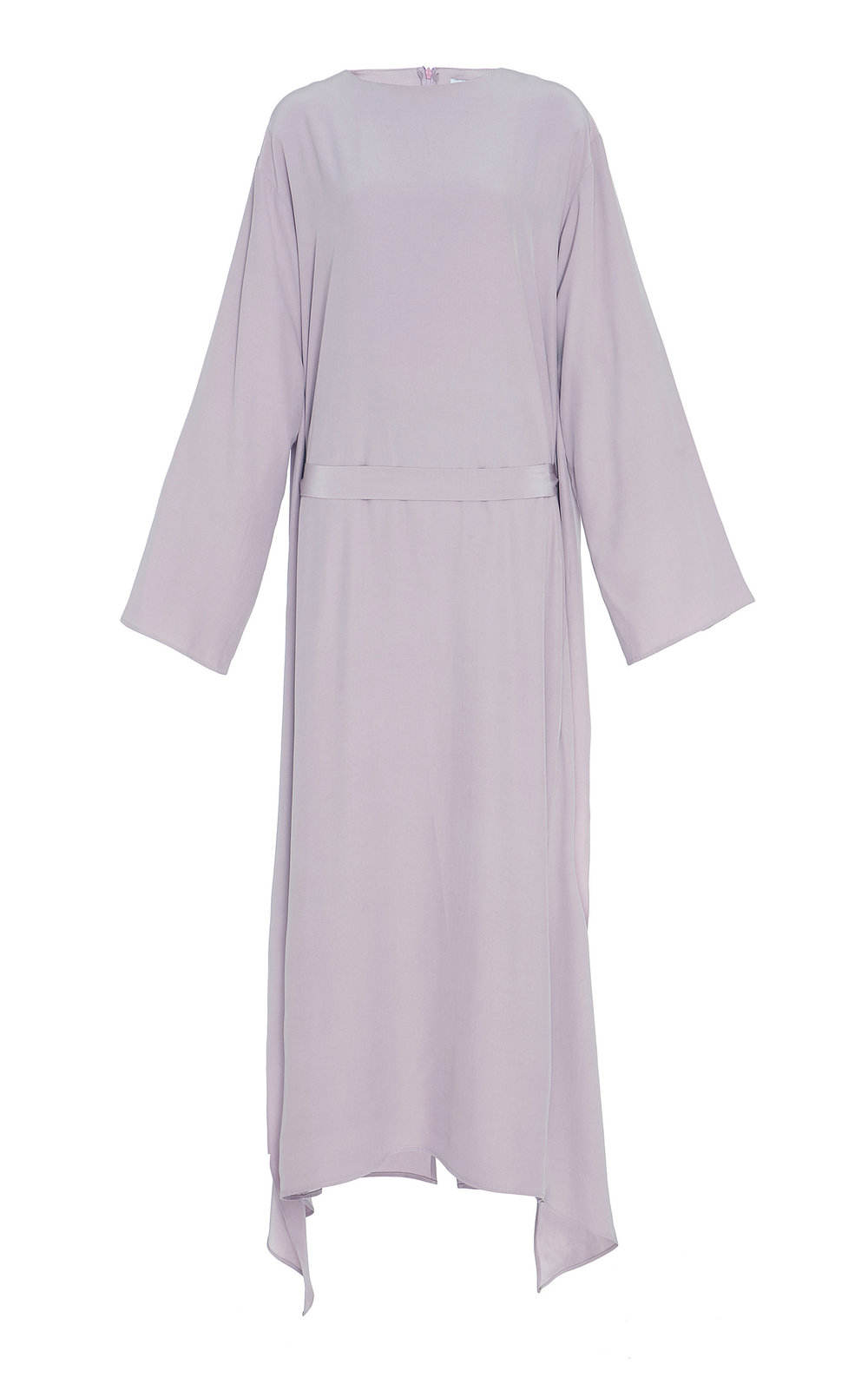 Annabelle Silk-Satin Layered Dress - ORCHID  A light-weight silk dress, with double-layered back and dropped shoulders. The subtle flared cut and wide sleeves create an effortlessly elegant look. Soft matching belt to cinch the waistline.