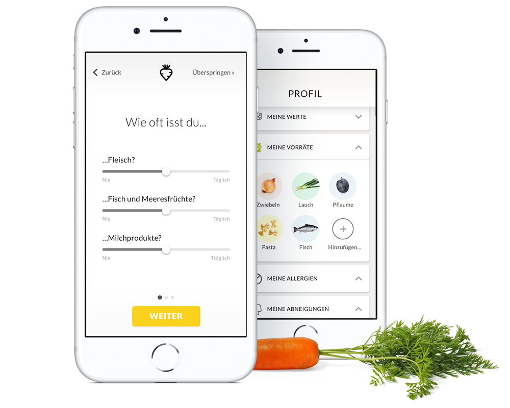1. Personalisieren - Sag uns, was du gerne isst und welche Produkte bei dir nie auf den Teller kommen sollen. Ob du allergisch auf Nüsse bist, vegetarisch isst oder dir mehr saisonale Produkte wünschst - unsere Vorschläge passen sich dir an.