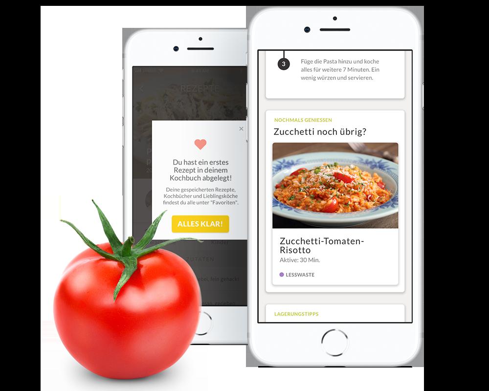 4. Geniessen - Deine personalisierten Rezepte kannst du gleich in deinem eigenen Kochbuch abspeichern. Hast du zu viel gekocht? Keine Sorge – jedes unserer Rezepte kommt mit Vorschlägen, wie du aus deinen Resten ein neues leckeres Gericht zubereiten kannst.