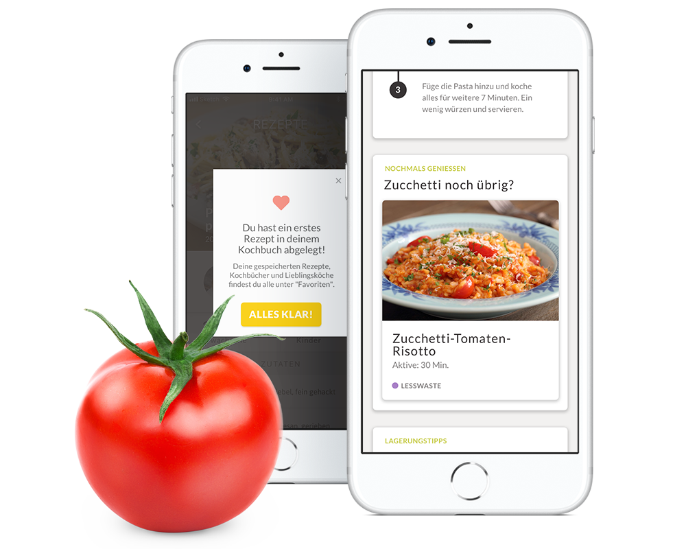 Re-Food-Tricks - Die App denkt deine Rezept für die User weiter und entwickelt tolle Re-Food-Mahlzeiten, für den Fall dass eine Portion oder eine Zutat liegengeblieben ist.