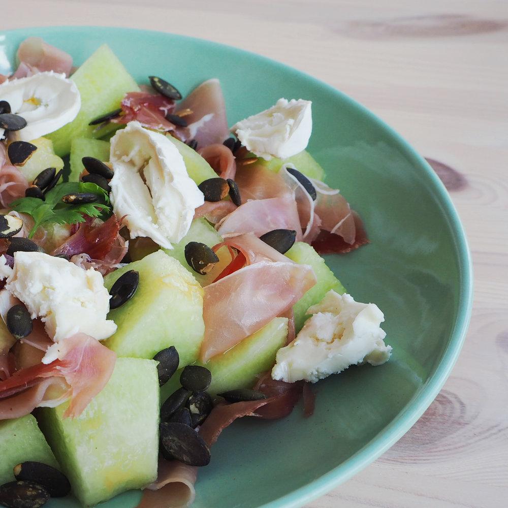 Melonen Schinken Salat