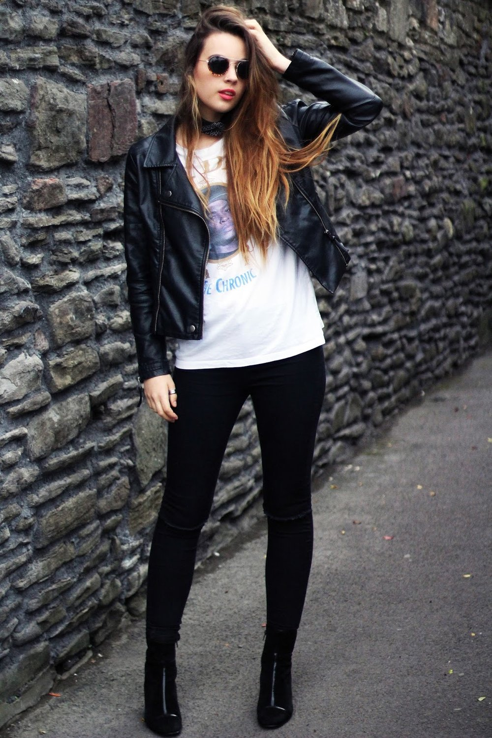 bfc4009d820f Tee - Depop (similar), jeans - Primark, leather jacket - Primark, boots -  Vintage, neck scarf - Claire's Accessories, sunglasses - Topshop.