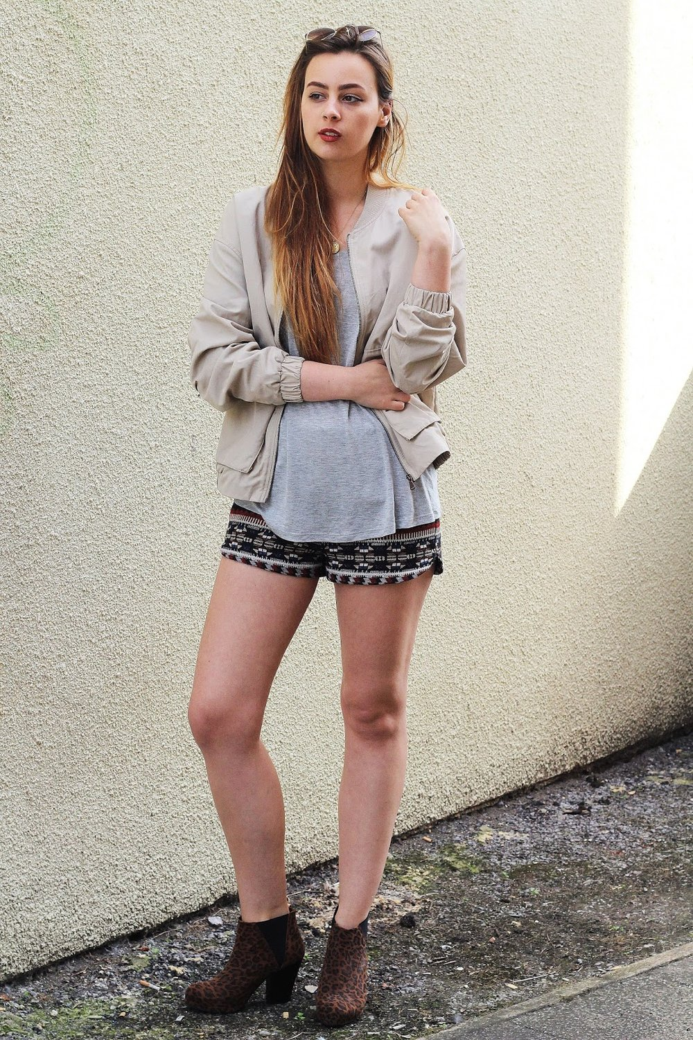 449c91c8f54d Top - Forever 21, jacket - H&M, shorts - Forever 21, boots - River Island,  sunglasses - Matalan.