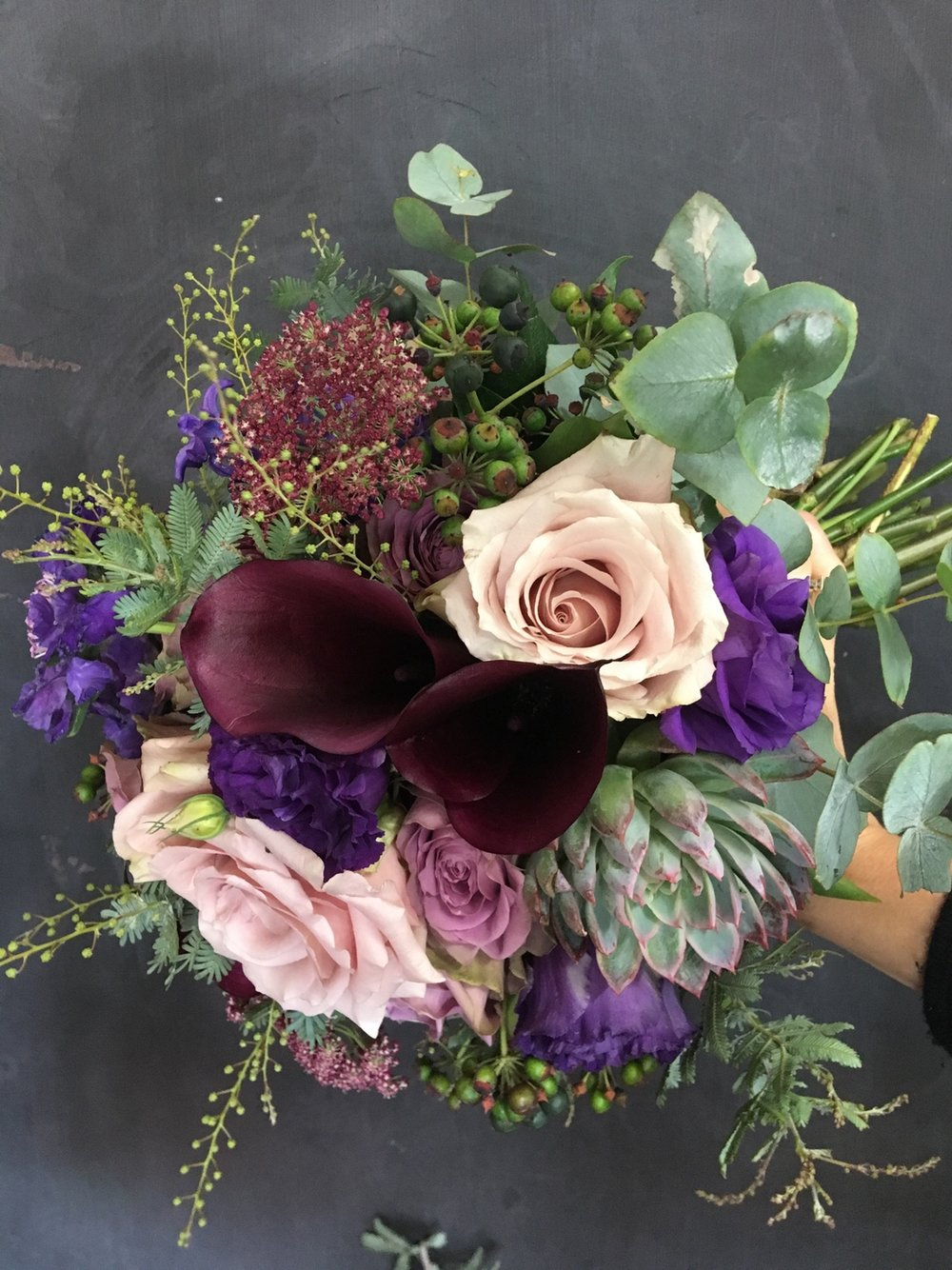 Hand Tied Bridal Bouquet with Succulents