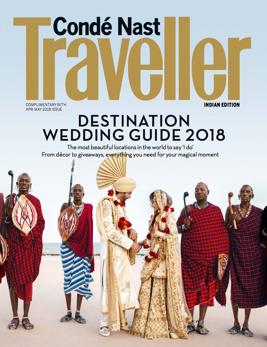Our Image on the Cover of Conde Nast Traveller- Apr/May 2018 - Conde Nast Traveller is considered the last word on travel. For their summer issue on 'Destination Weddings', they picked a KSP original to feature as their cover.