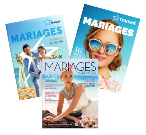 Brochures de mariage - Vous aimeriez avoir une panoplie de brochures mariage concernant les mariages dans le sud ? Obtenez ici les brochures mariage de Transat et de Vacances Sunwing.