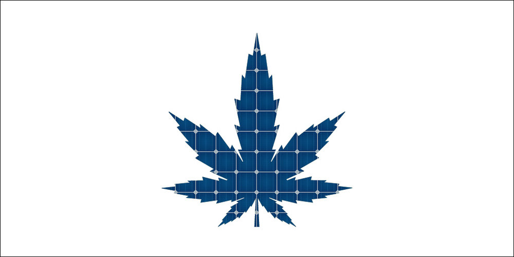 marijuana leaf with solar panel
