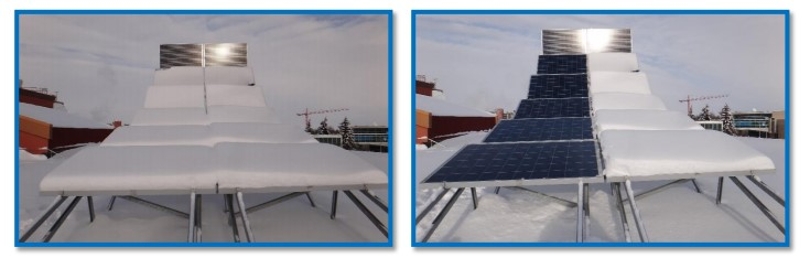 photograph of solar panels covered in snow.