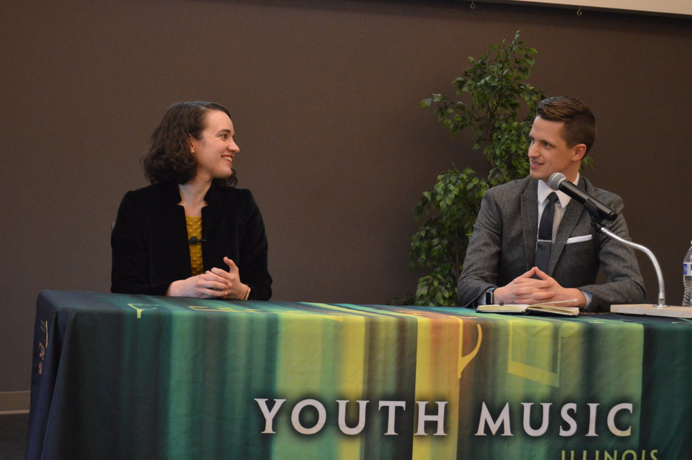Amy with AJ Heaps, medical student at UI College of Medicine - Peoria and host of the Music and Mindfulness in Medicine symposium.