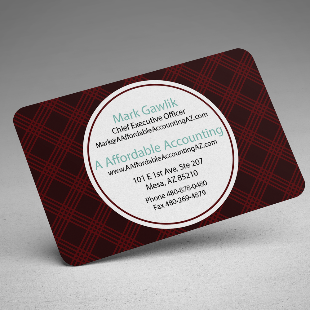 A Affordable Accounting Business Card - info side