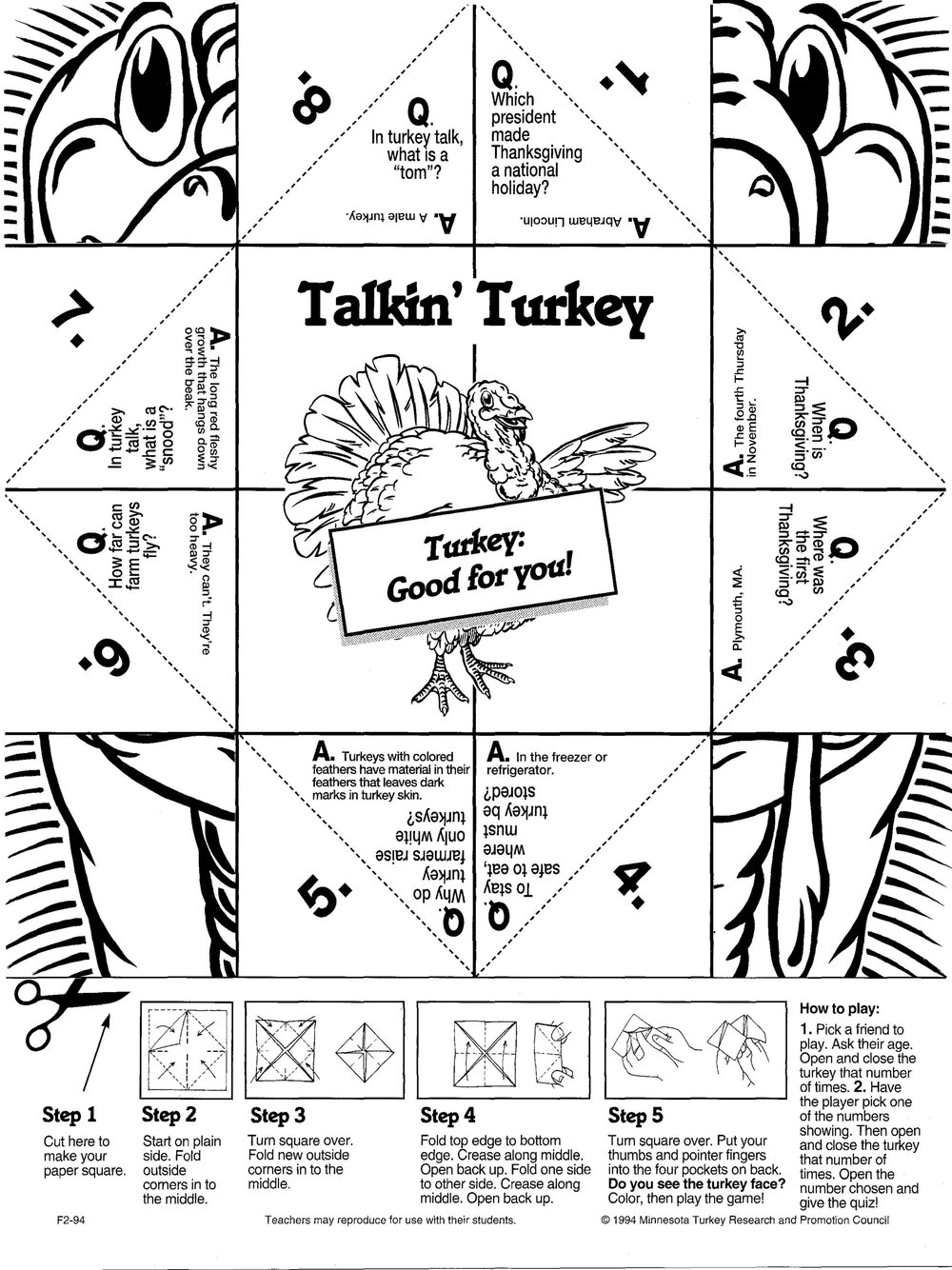 Turkey folding game