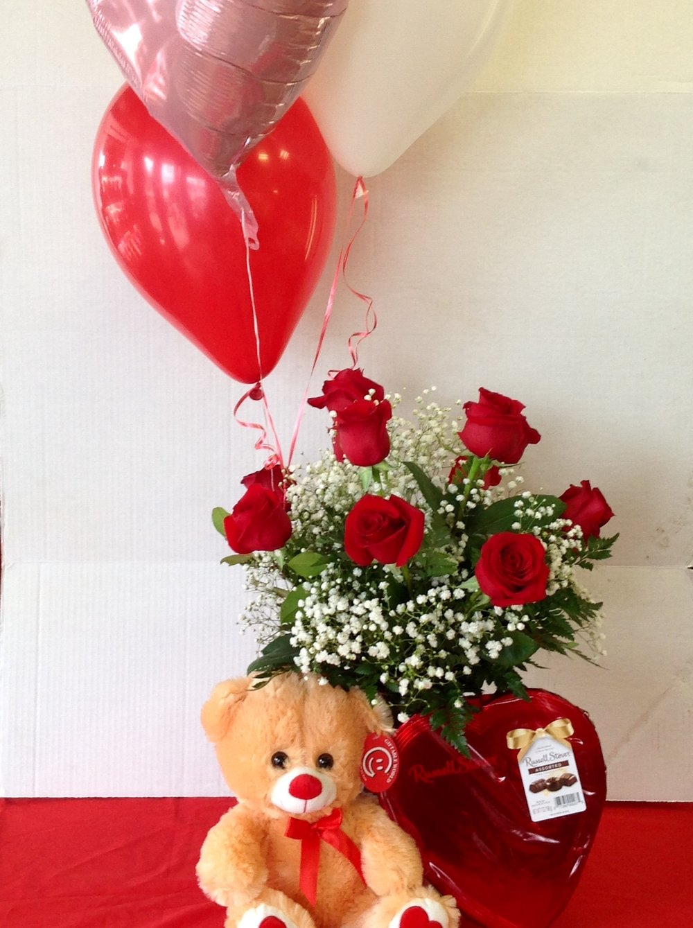 Rose Special - $100 -  Dozen Roses with Bear, Chocolates & Balloons