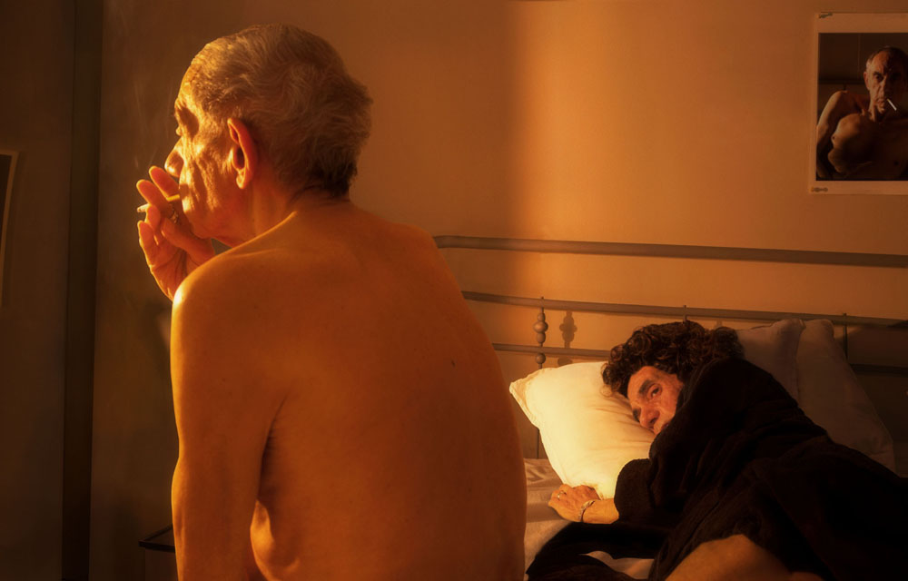 Copy of « LOOKING FOR THE MASTERS IN RICARDO'S GOLDEN SHOES #73 (TRIBUTE TO NAN GOLDIN, NAN AND BRIAN IN BED, NEW YORK 1983) » BY CATHERINE BALET
