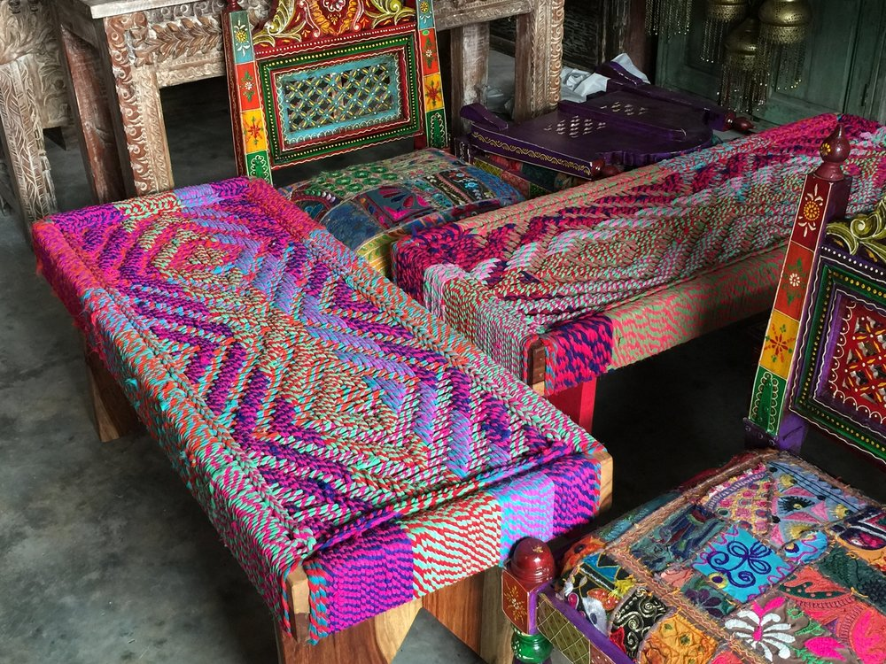 Guatemalan Upholstered Bench