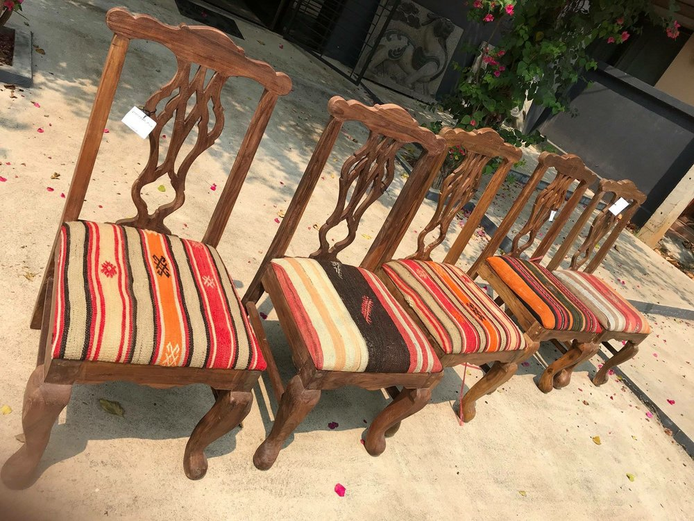 Upholstered Chairs with Anatolian Kilim