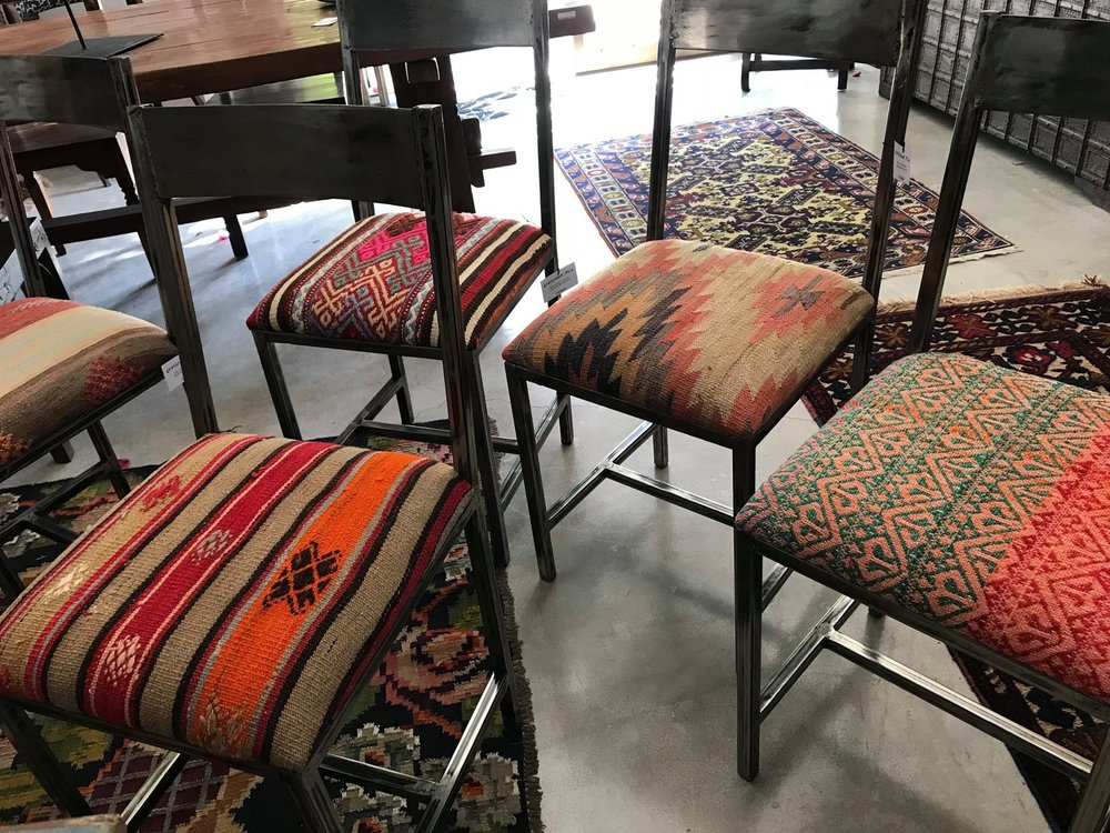 """Bella"" Upholstered Iron Chair with Anatolian Kilim"
