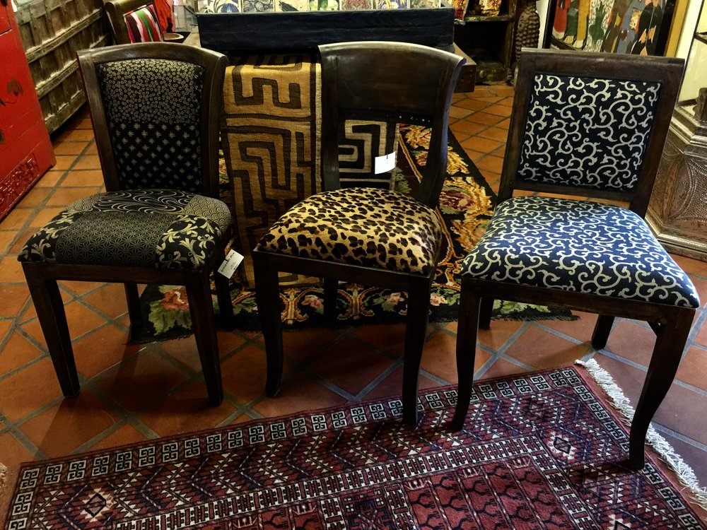 Ami Chair Upholstered with Japanese Cotton, Kipas Upholstered with Cow Hide,Leopard Print