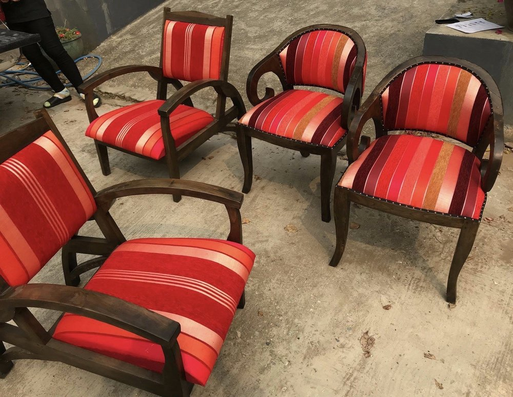 Upholstered Betawi and Titanic Chairs with Sabra Cloth