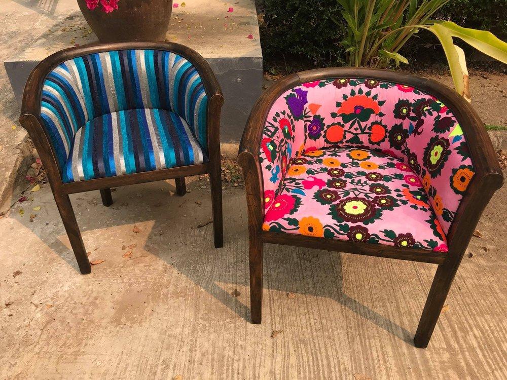 Charles Tub Chair, Sabra Cloth and Uzbek Suzeini
