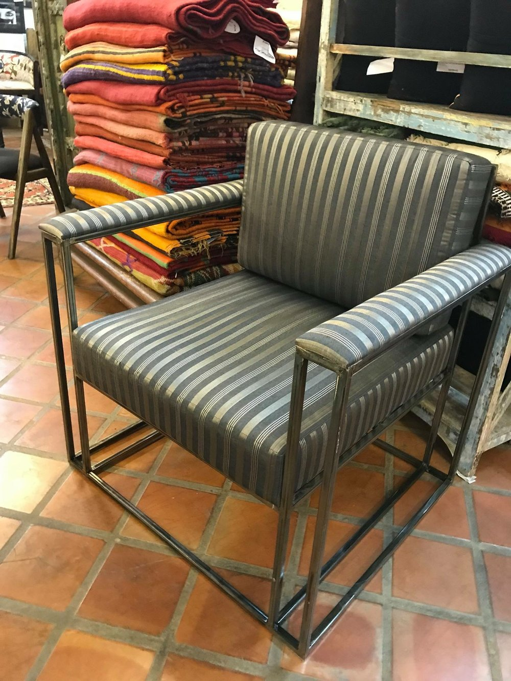 Ziggy Iron Chair Upholstered with Turkish Silk and Cotton