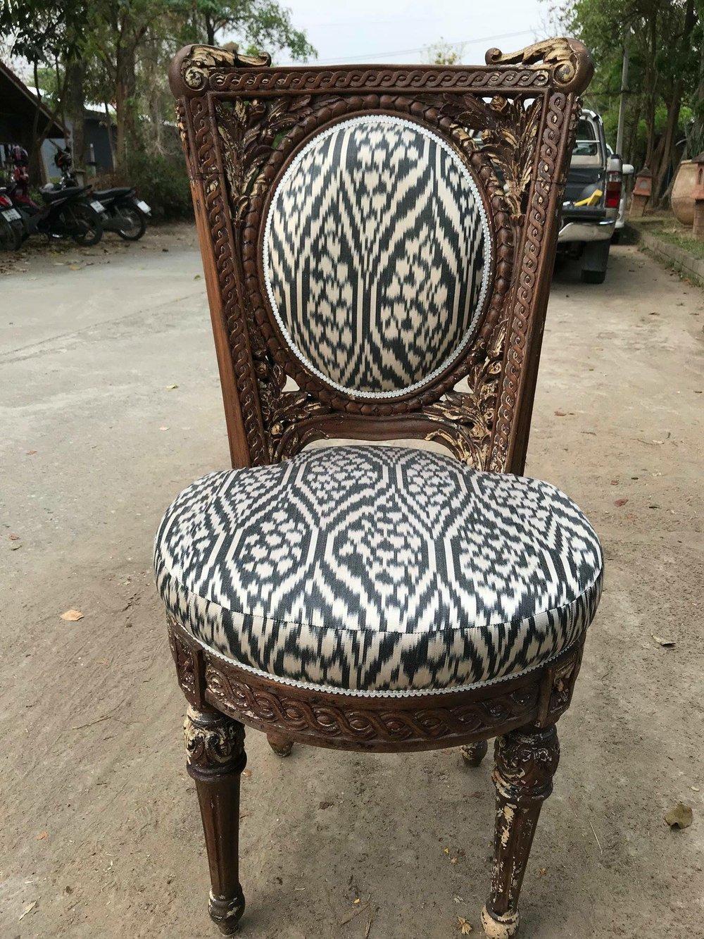 Raj Chair Upholstered with Uzbek Silk Ikat