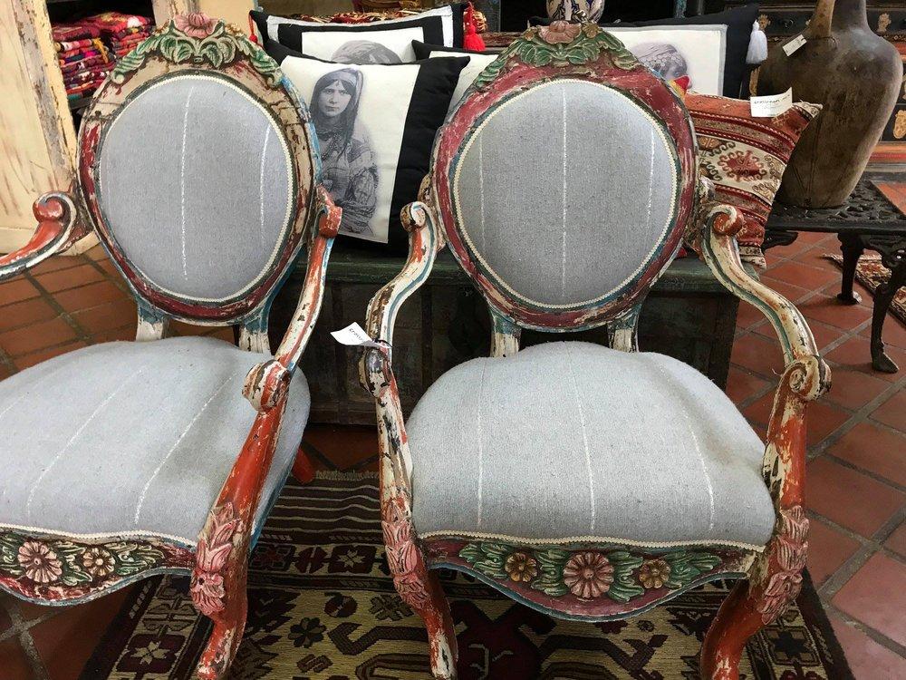 Maharashtra Chair Upholstered with Batania Cloth