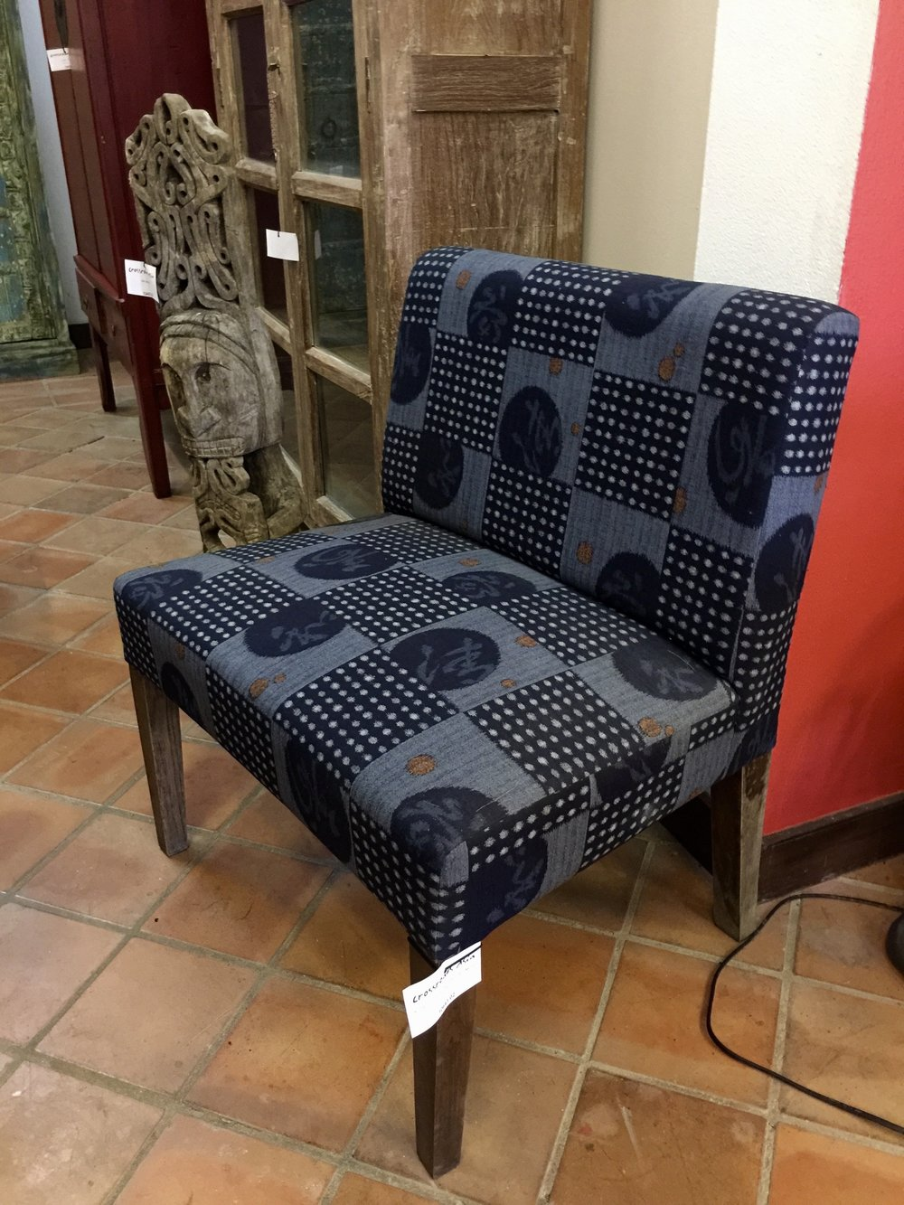 Low Chair Upholstered with Japanese Cotton