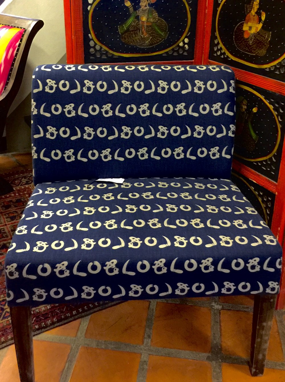 Low Chair Upholstered Japanese Cotton