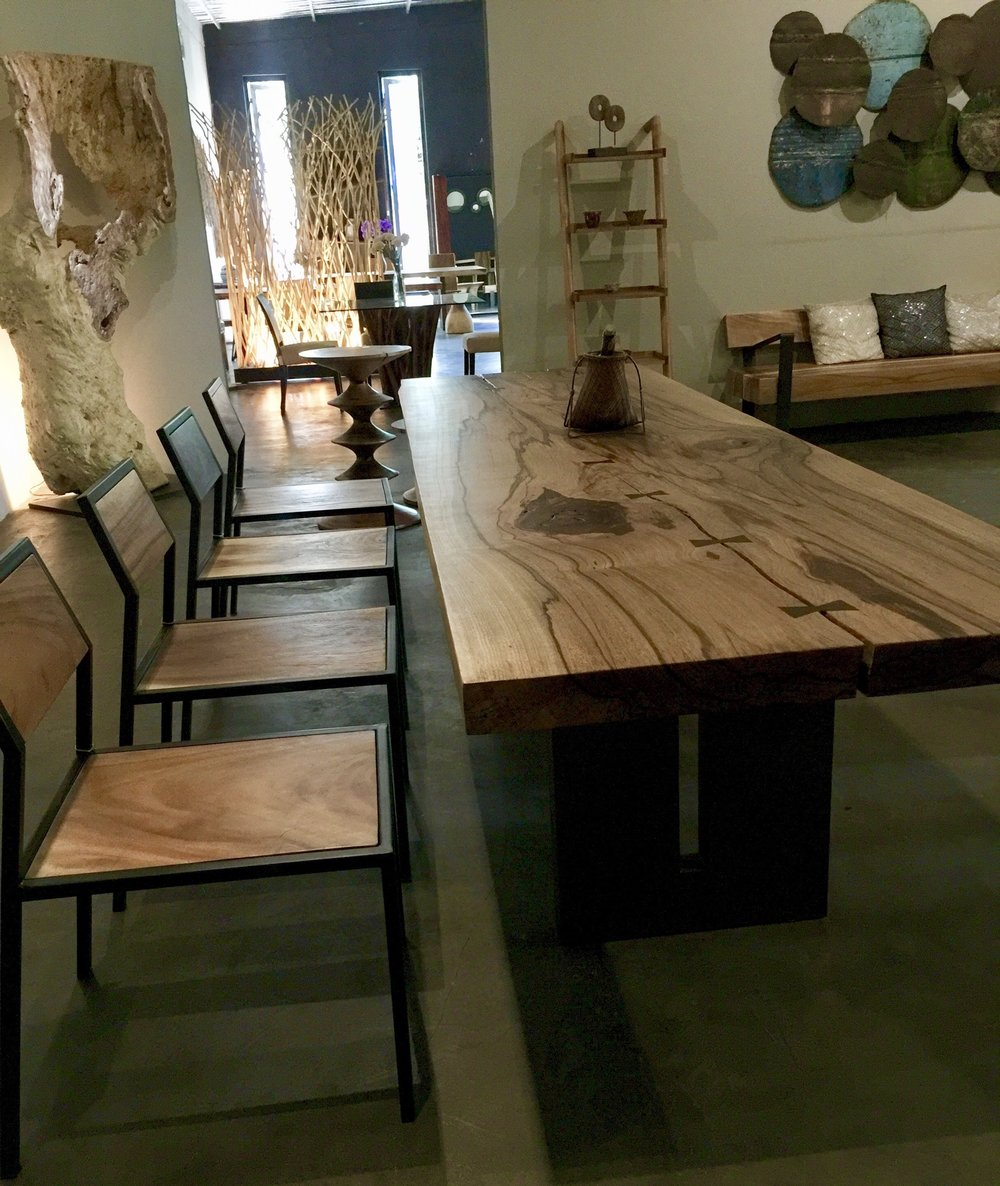 Chamcha Wood Straight Edge Dining Table