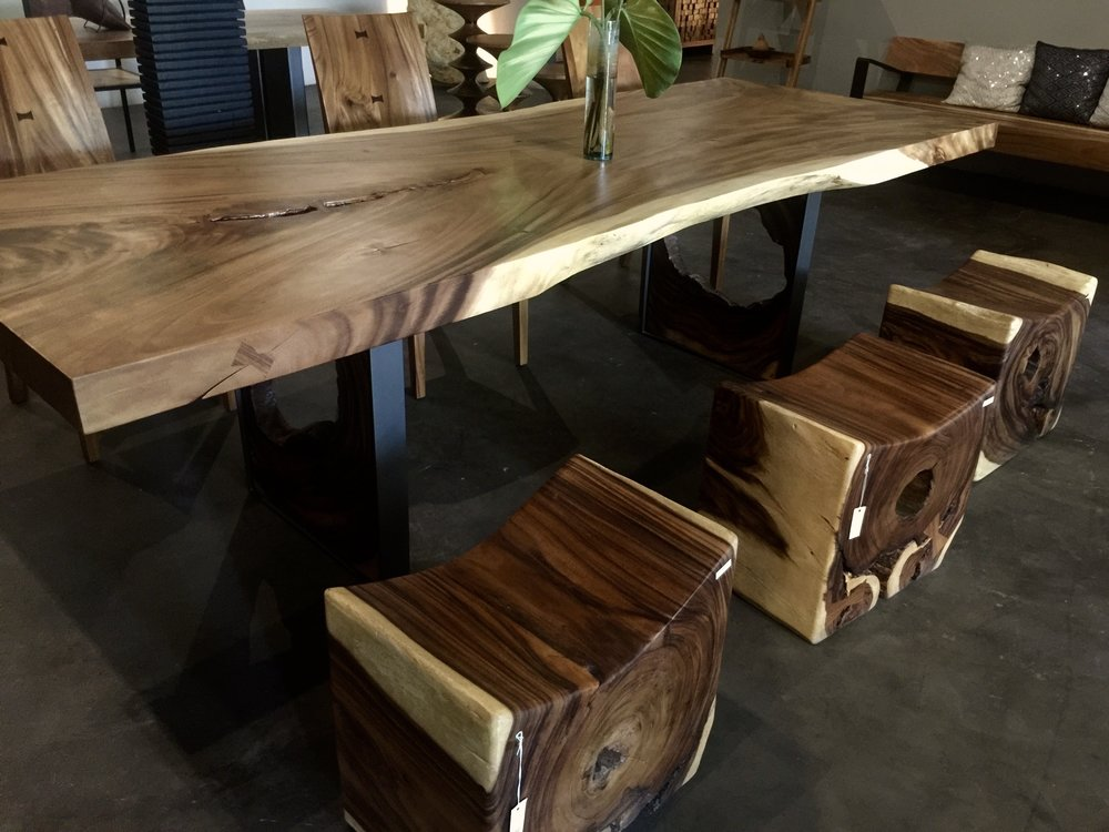 Dining Table with U Block and Cham Cha Wood Stools
