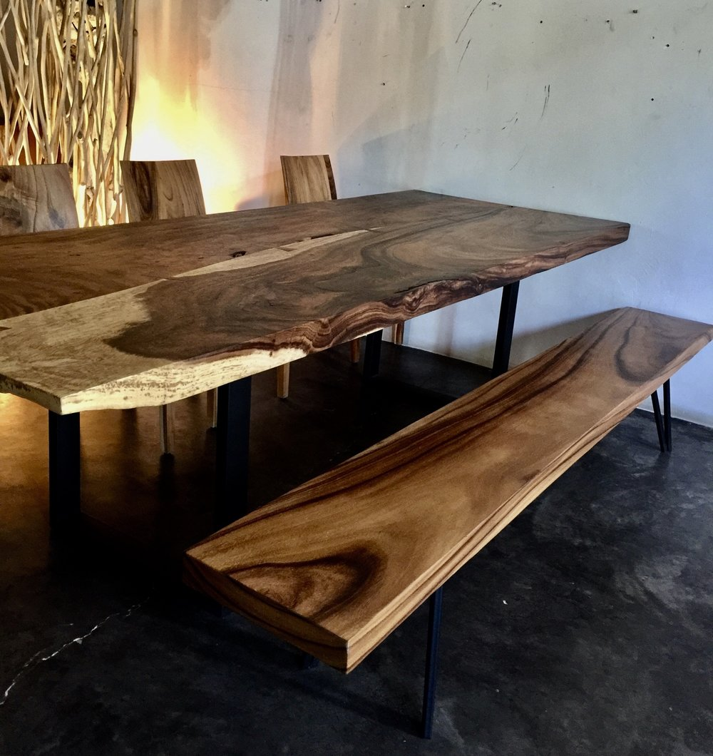 Chamcha Wood Straight Edge Dining Table and Bench With Iron Legs