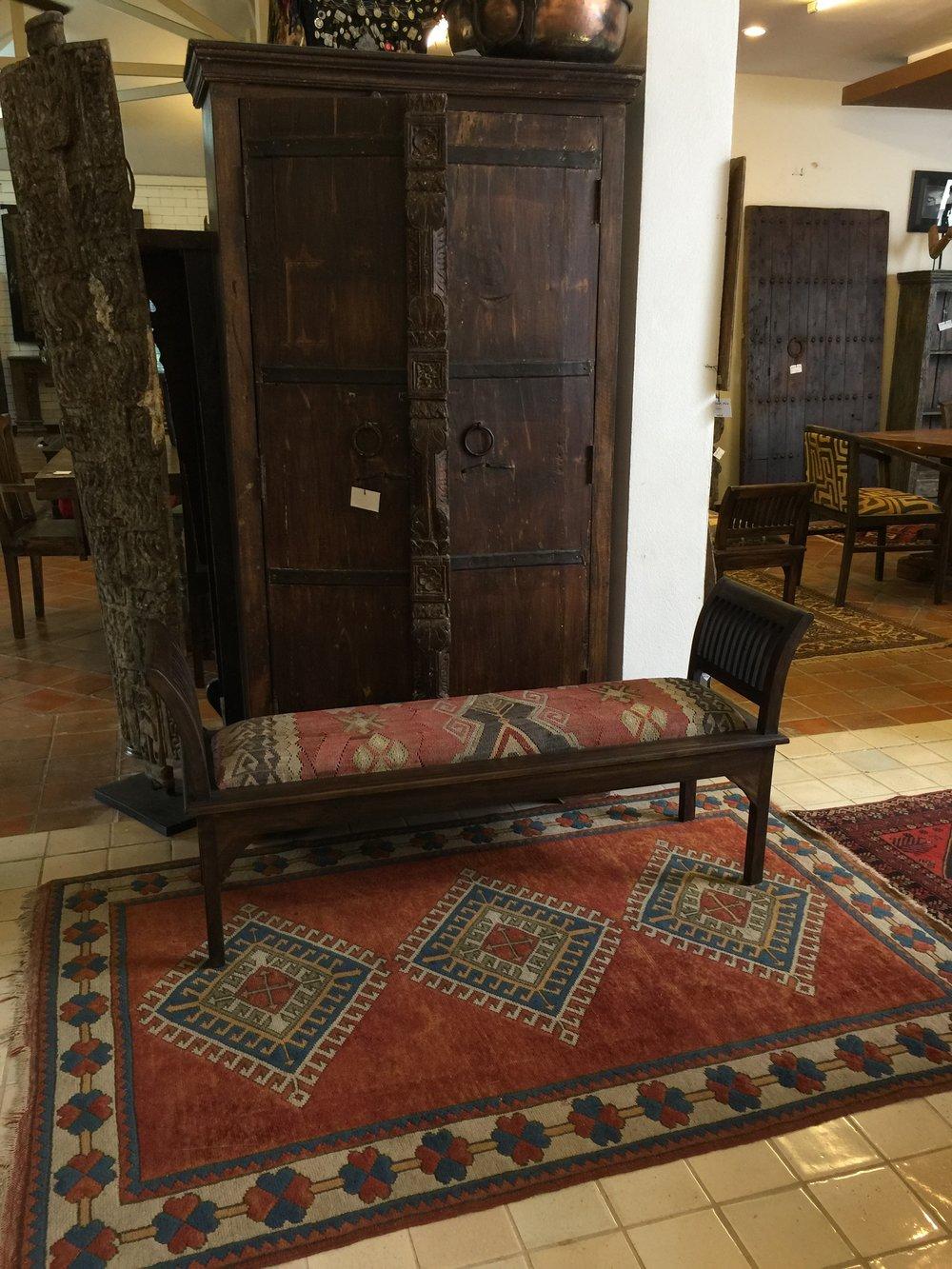 Rest Bench with Anatolian Kilim