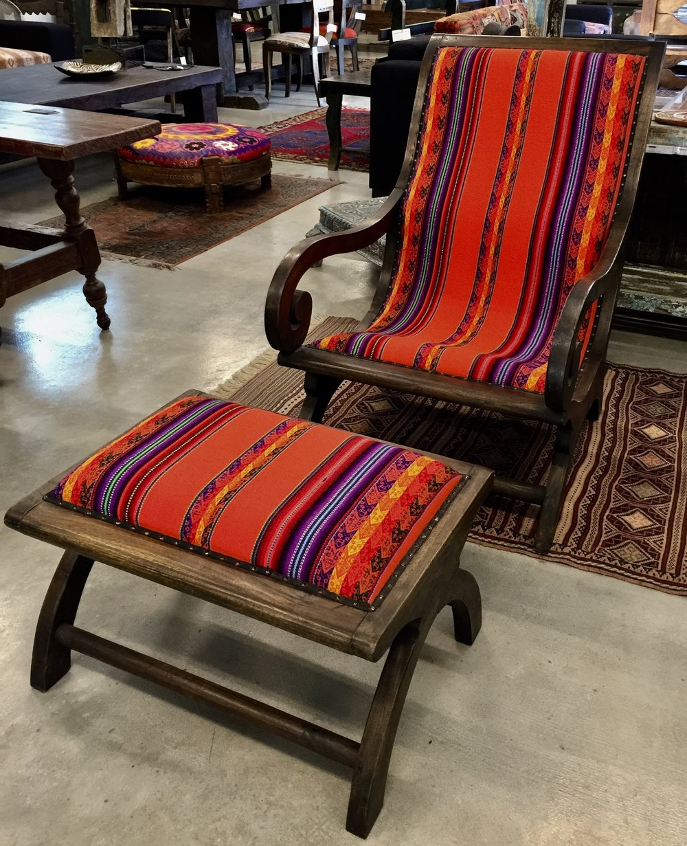 Lazy Chair and Foot Stool with Guatemalan Cloth