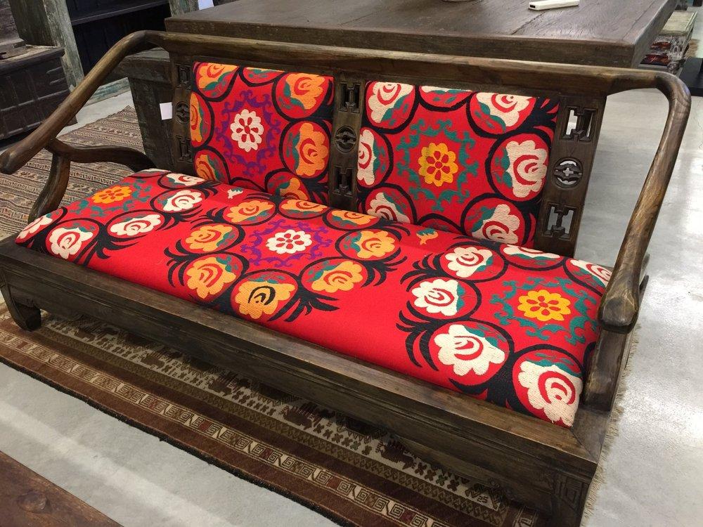 Low Sofa Upholstered with Uzbek-Suzeini